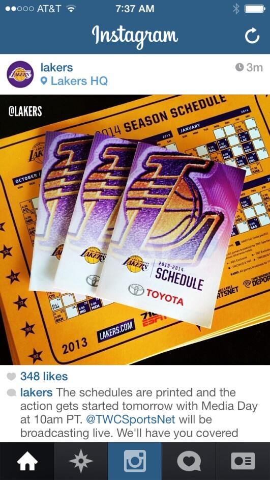 Lakers Printing Calendars